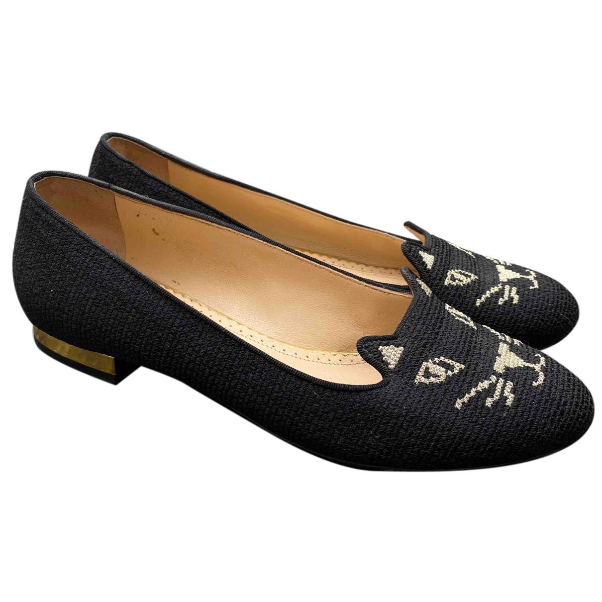 Charlotte Olympia - Ballerines Kitty pour femme en toile - noir