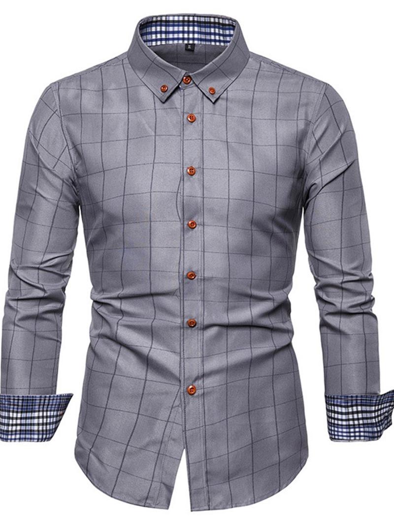 Ericdress Plaid Lapel Casual Single-Breasted Mens Slim Shirt