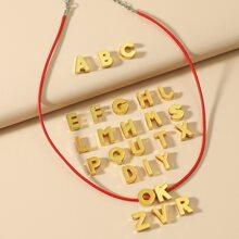 1 Stueck Minimalistische Halskette & 26 Stuecken Buchstaben Dekoration