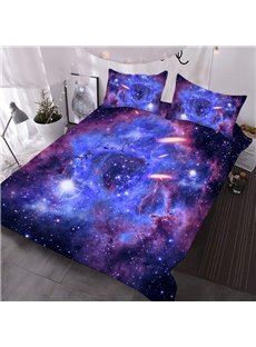 3D Galaxy Comforter Purple Outer Space Printed 3-Piece Soft Comforter Sets