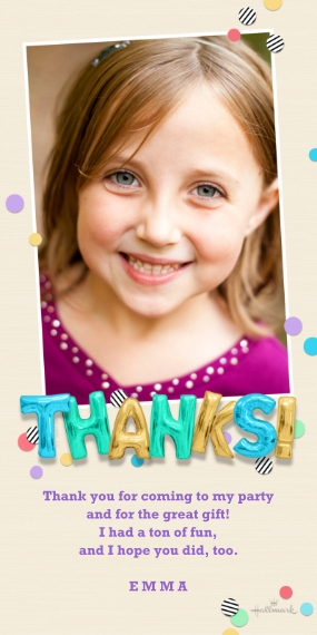 Kids Thank You Cards 4x8 Flat Card Set, 85lb, Card & Stationery -Thanks! Balloons