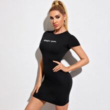 Letter Graphic Form Fitted Dress