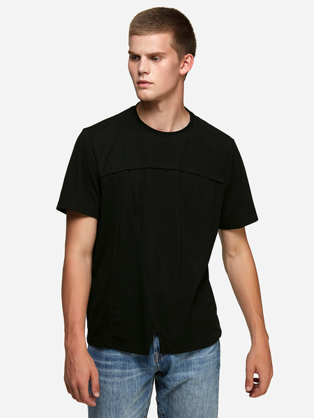 Yoins Black Asymmetrical Design Crew Neck Men's T-Shirt