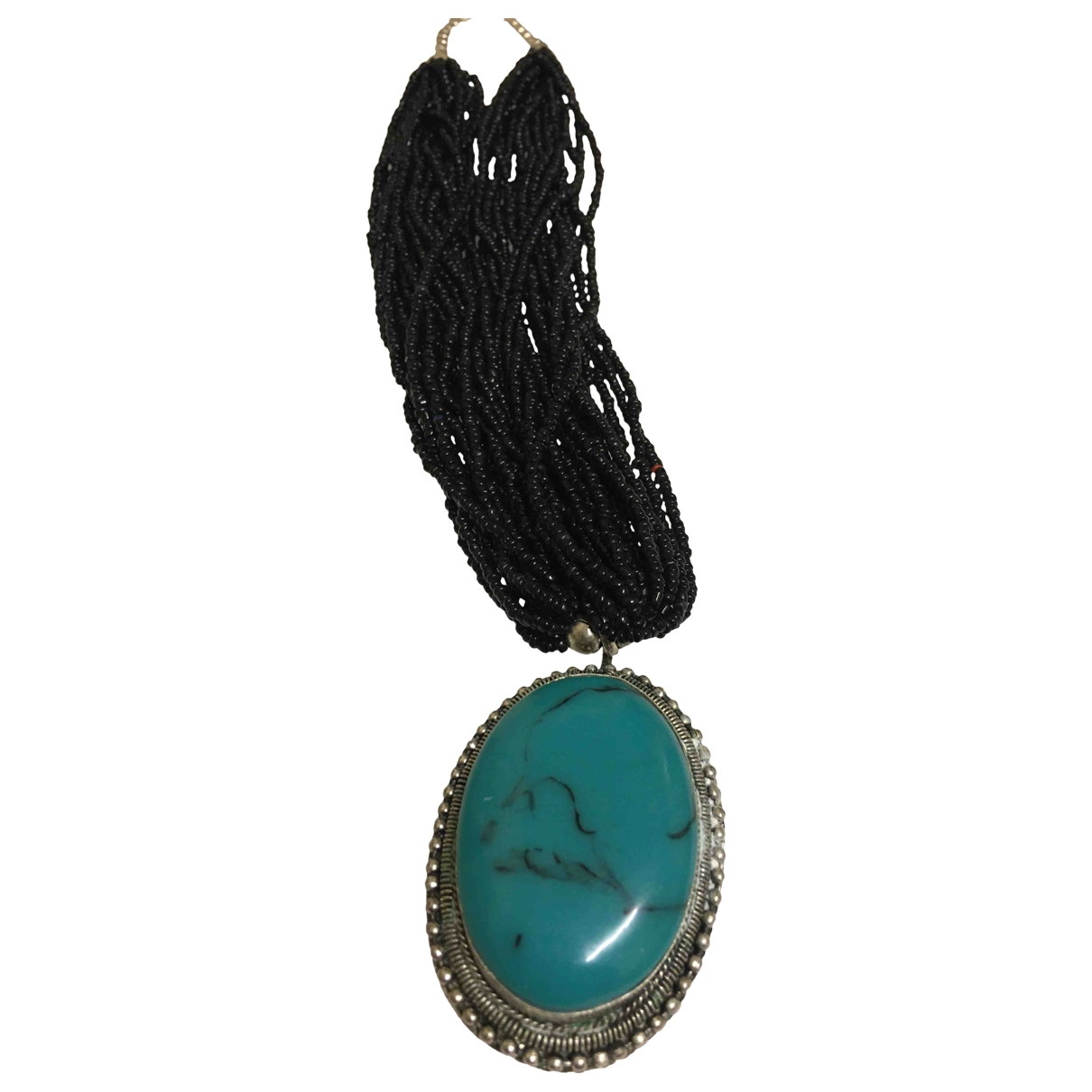 Non Signe / Unsigned Turquoises Kette in  Schwarz Kristall