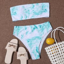 Bañador bikini bandeau de Tie Dye