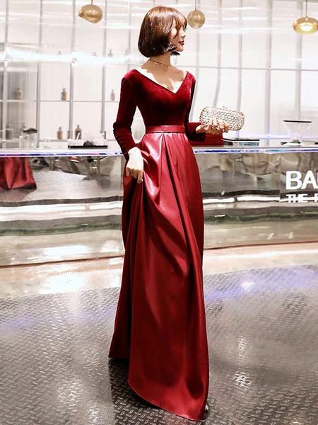 Milanoo Evening Dresses Long Sleeve V Neck Satin Velvet Floor Length Maxi Formal Gowns