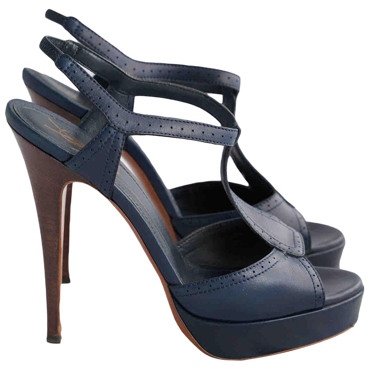 Yves Saint Laurent - Sandales   pour femme en cuir - bleu