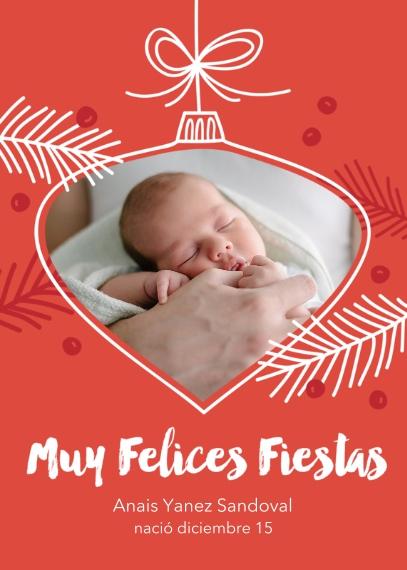 Tarjetas de Navidad 5x7 Folded Cards, Standard Cardstock 85lb, Card & Stationery -Sweetest Ornament Ever - Spanish