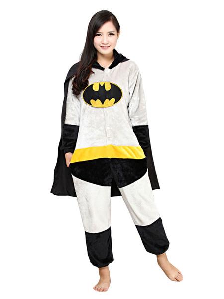 Milanoo Batman Kigurumi Pajamas Grey Adult Onesie Flannel Animal Onesie Winter Sleepwear Cosplay Costume Halloween