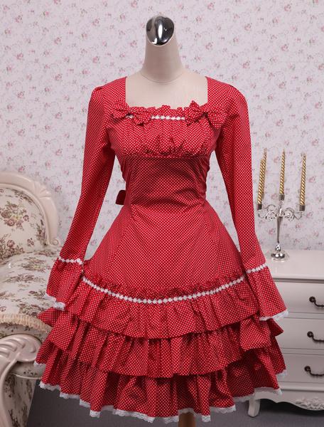 Milanoo Falda de una pieza roja de algodon estilo dulce con escote cuadrado con volante fruncido