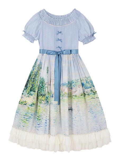 Milanoo Vestido clasico de Lolita OP Pintura al oleo de Monet Arcos impresos Mangas cortas Vestidos de una pieza de Lolita