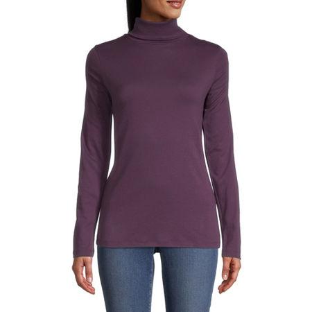 St. John's Bay-Womens Turtleneck Long Sleeve T-Shirt, X-large , Purple