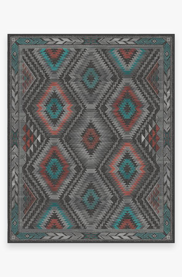 Washable Rug Cover & Pad | Dessa Diamond Charcoal Rug | Stain-Resistant | Ruggable | 8'x10'