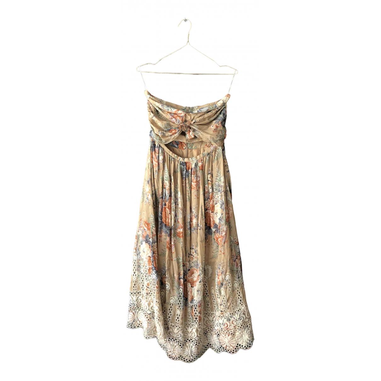 Zimmermann \N Kleid in  Beige Baumwolle
