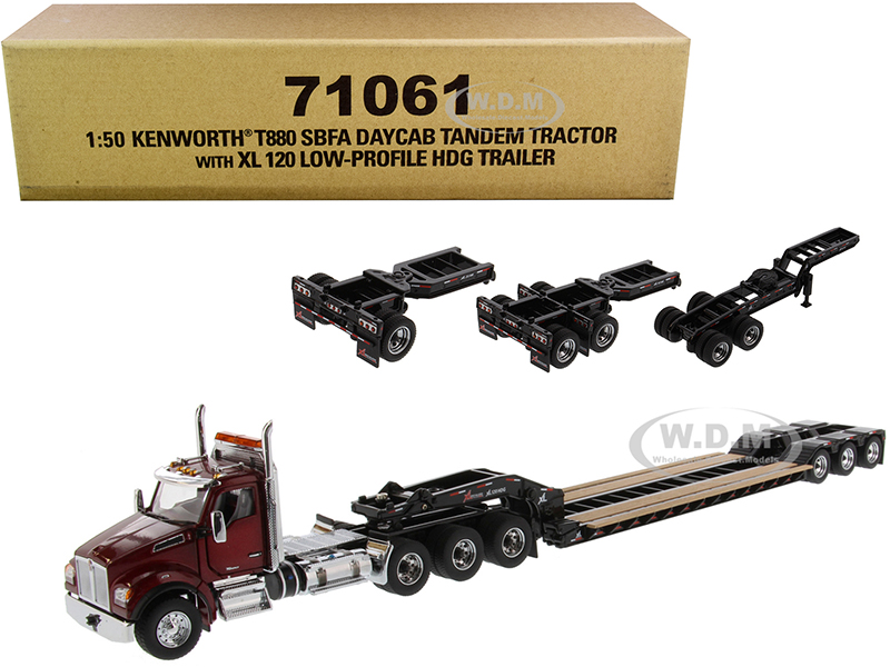 Kenworth T880 SBFA Day Cab Tandem Tractor with XL 120 Low-Profile HDG Trailer with 2 Boosters and Jeep Radiant Red and Black