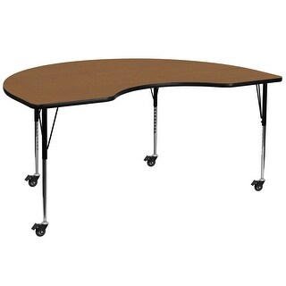"""Mobile 48""""W x 96""""L Kidney Thermal Laminate Adjustable Activity Table (Oak)"""
