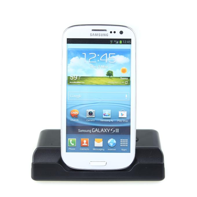 Samsung Galaxy SIII (i9300) Desktop Docking Station With Battery Chatger Mount Cradle-horizontal