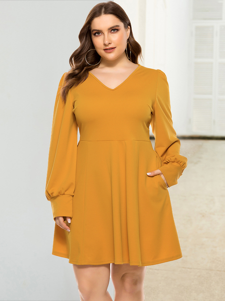 Yoins Plus Size V-neck Long Sleeves Dress