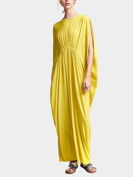 Yoins Yellow Maxi Dress In Jersey
