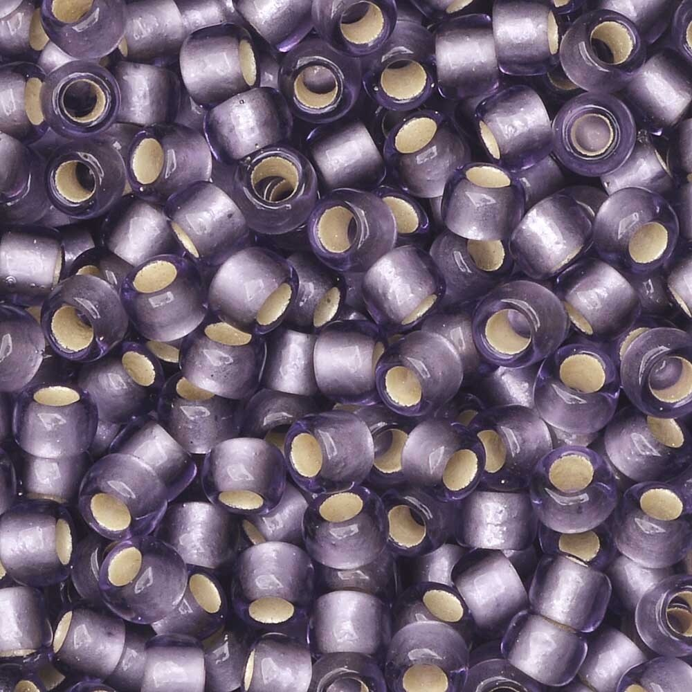 Toho Seed Beads, Round 8/0 #39F 'Silver Lined Frosted Light Tanzanite', 8 Grams
