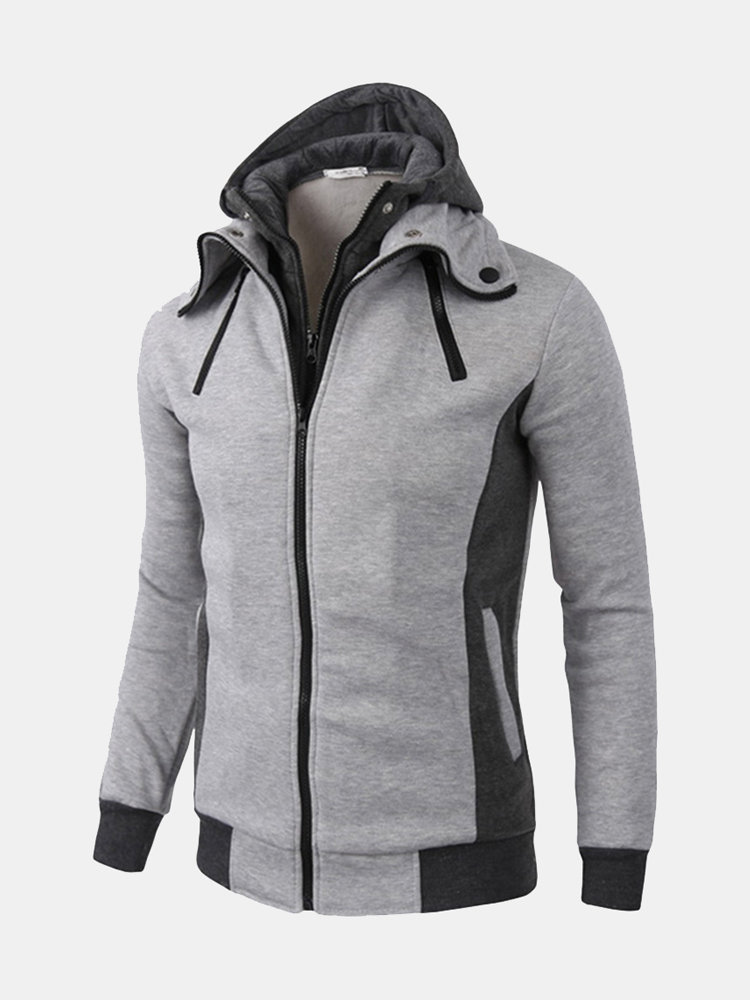 Mens Fake Two Pieces Tops Zip Up Hooded Solid Color Casual Cotton Hoodies