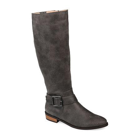 Journee Collection Womens Winona Riding Boots Stacked Heel, 7 1/2 Medium, Gray