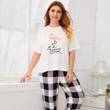 Grosse Grossen - Top mit Buchstaben, Flamingo Muster & Hose mit Karo Muster Schlafanzug Set