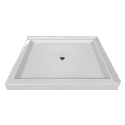 SBDT-4842-LT-WHT Double Threshold White Acrylic Center Drain Shower Base Left Hand