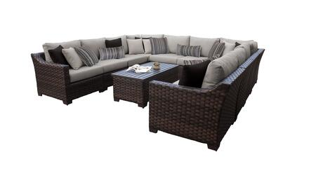 RIVER-11a Kathy Ireland Homes and Gardens River Brook 11-Piece Wicker Patio Set 11a - 1 Set of Truffle