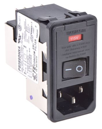 TE Connectivity ,10A,120 V ac, 250 V ac Male Snap-In IEC Filter 2 Pole 6609951-4,Spade 2 Fuse