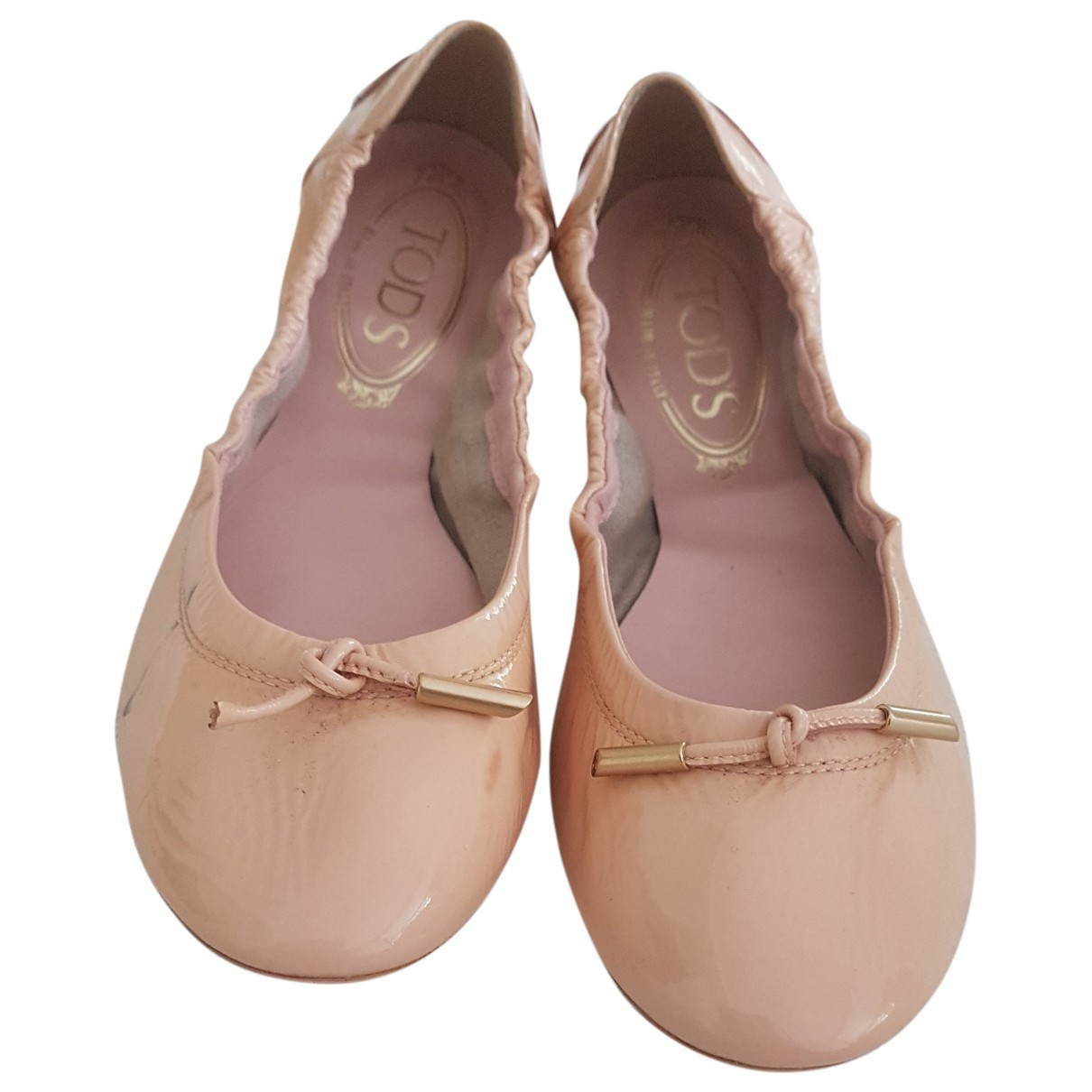 Tod's N Beige Patent leather Ballet flats for Women 38 EU