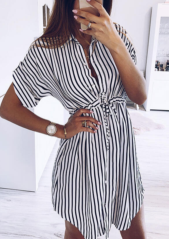 Striped Ruffled Button Drawstring Mini Dress without Necklace