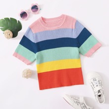 Girls Rib-knit Colorblock Sweater
