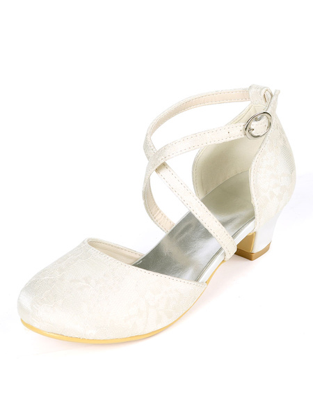 Milanoo Flower Girl Shoes Ivory Lace Party Shoes For Kids