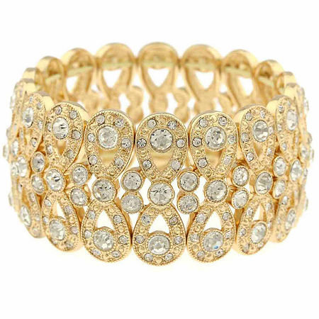 Monet Clear And Goldtone Stretch Bracelet, One Size , Yellow