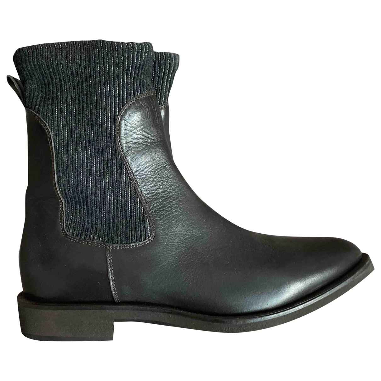Brunello Cucinelli \N Brown Leather Ankle boots for Women 37.5 EU