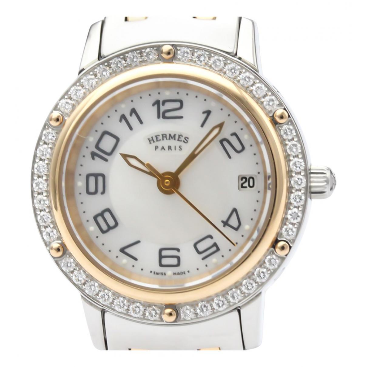 Hermes Clipper Uhr in  Weiss Vergoldet