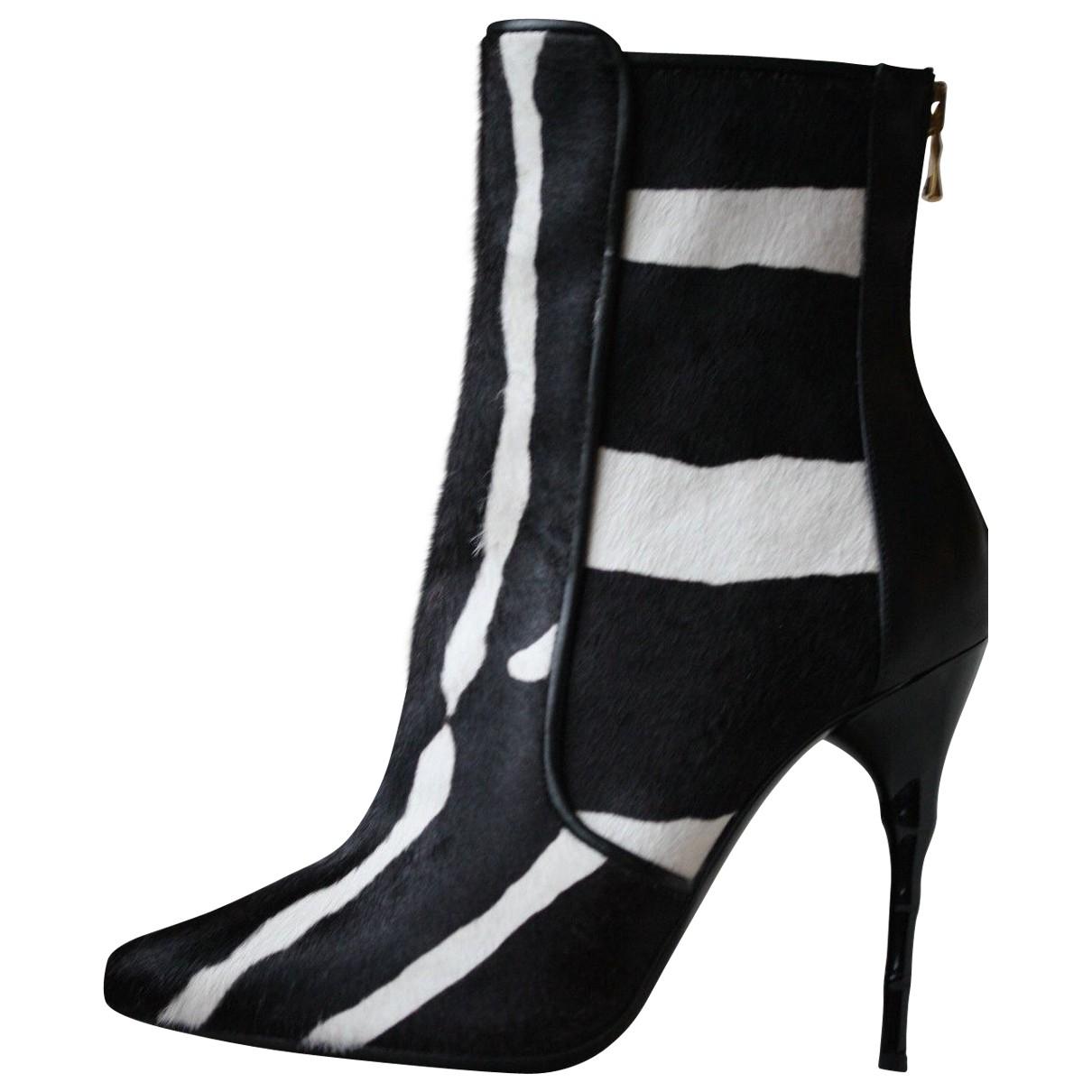 Balmain N Black Pony-style calfskin Ankle boots for Women 37.5 EU