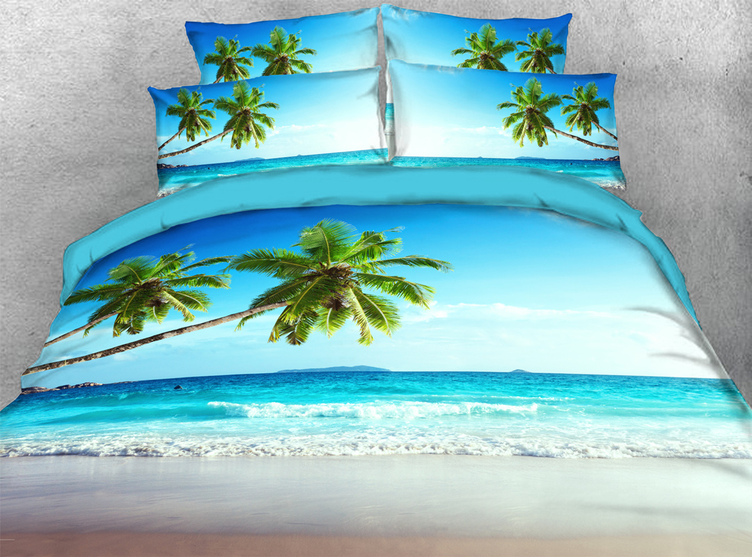 3D Palm Tree and Sea 4-piece No-fading Soft Bedding Sets Durable Scenery Zipper Duvet Cover with Non-slip Ties