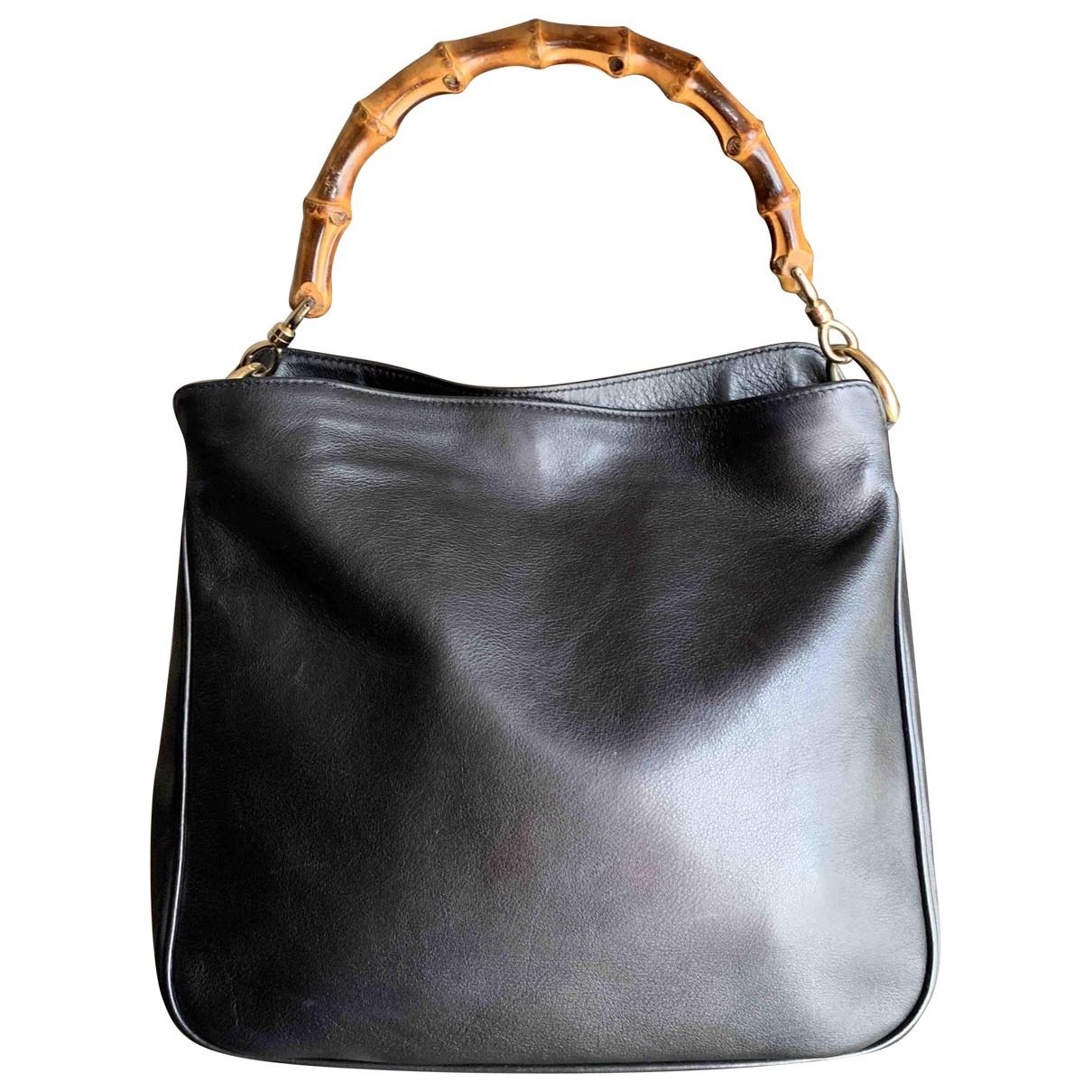 Gucci Bamboo Handtasche in  Schwarz Leder
