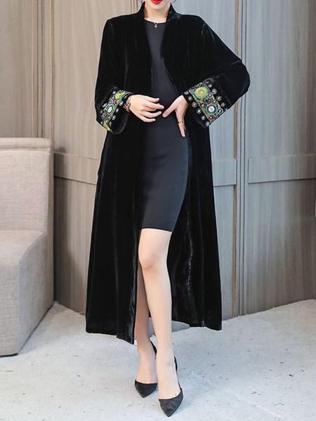 Milanoo abrigo mujer negro con manga larga con cuello en V de terciopelo Color liso Moda Mujer con bordado etnica Invierno Chaquetas