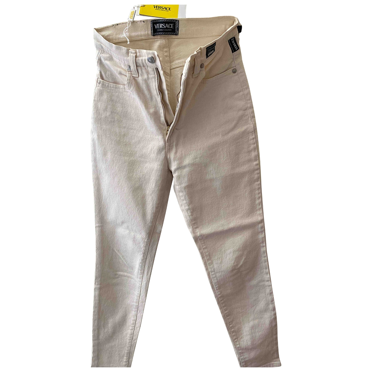 Versace Jeans \N White Cotton - elasthane Jeans for Women 30 US