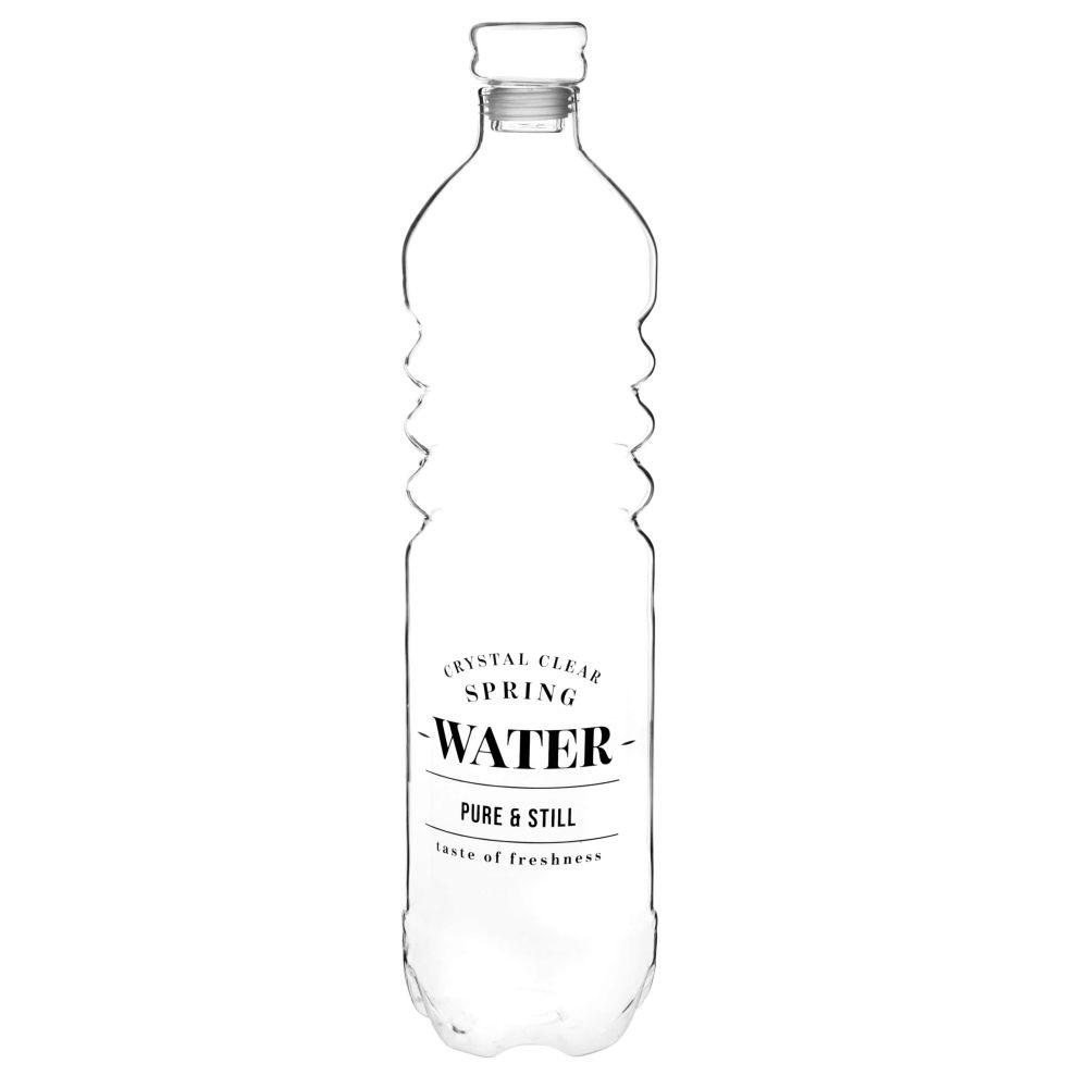 Glasflasche transparent, schwarz bedruckt