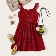Toddler Girls Polka Dot Button Front Ruffle Strap Dress