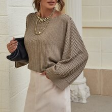 Batwing Sleeve Cable Knit Oversized Tee