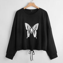 Sweatshirt mit Schmetterling Muster und Kordelzug