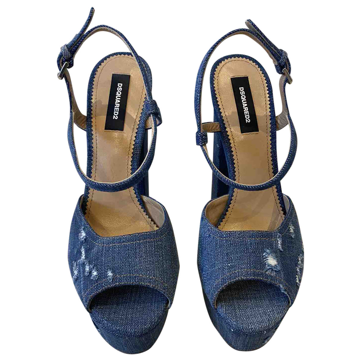 Dsquared2 N Blue Leather Heels for Women 39 EU