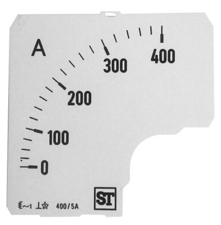 Sifam Tinsley Analogue Ammeter Scale, 400A, for use with 72 x 72 Analogue Panel Ammeter