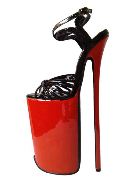 Milanoo Cowhide Ankle Strap High Heels