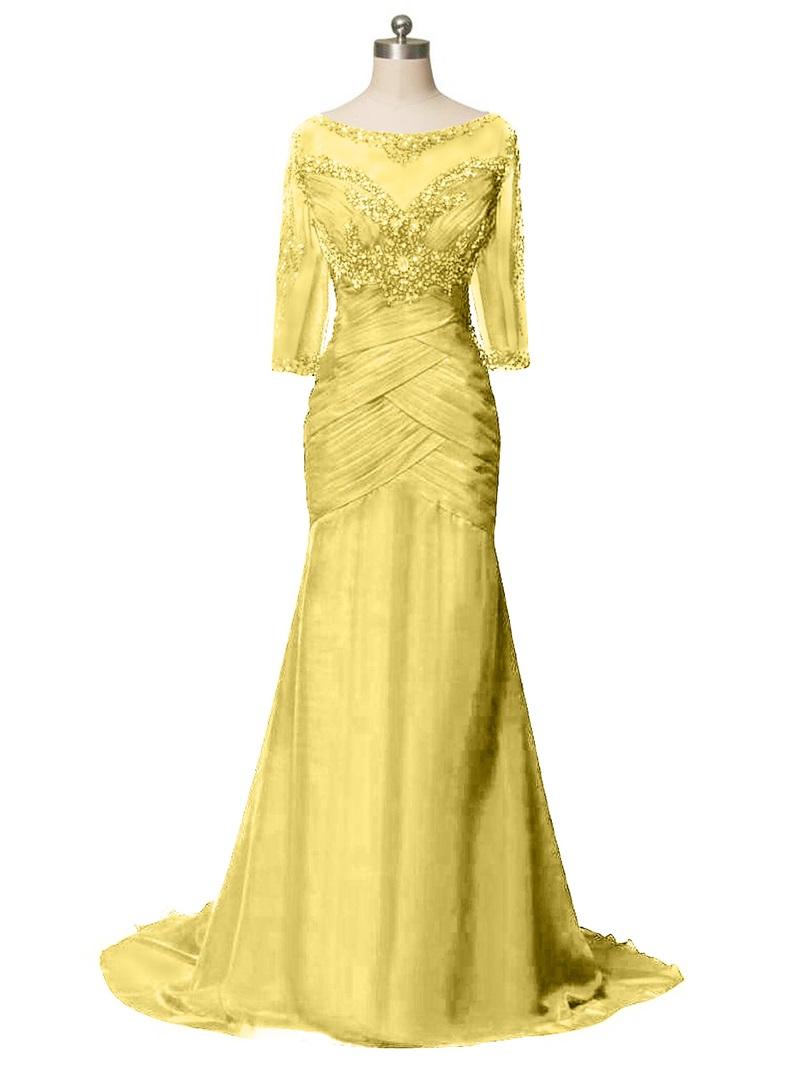 Ericdress Beaded Half Sleeves Mermaid Mother Of The Bride Dress